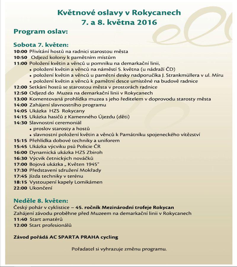 Květnové oslavy osvobození v Rokycanech 2016