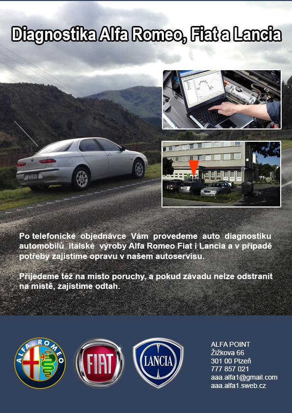 Alfa Romeo Fiat Lancia diagnostika Plzeň