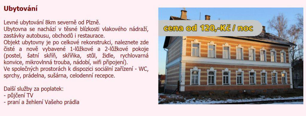Ubytovna Plzeň Horní Bříza