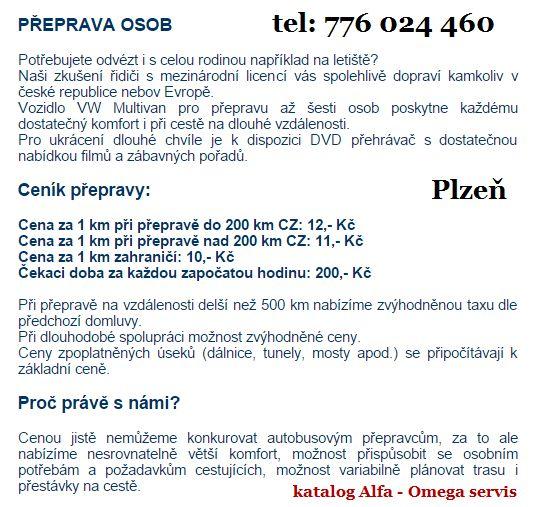 přeprava osob v Plzni