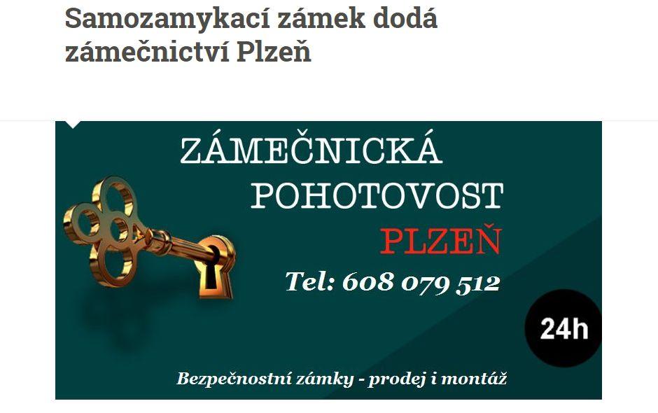 Samozamykací zámek dodá zámečnictví Plzeň