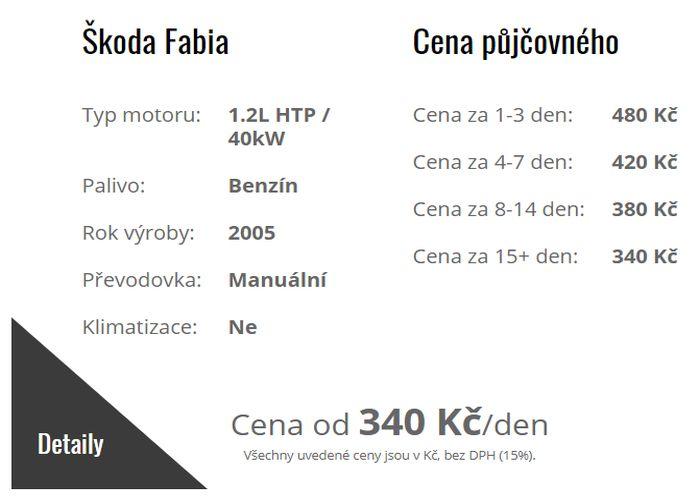 Autopůjčovna Strakonice - ceník zapůjčení osobního automobilu Škoda FABIA