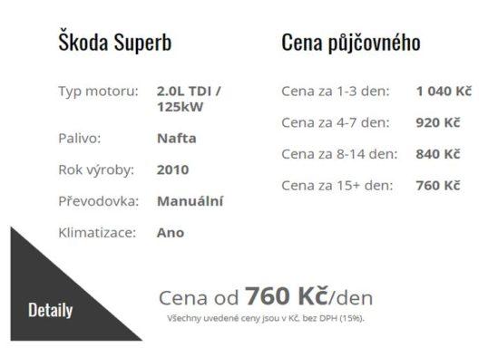 Autopůjčovna Strakonice - ceník zapůjčení osobního automobilu Škoda Seperb