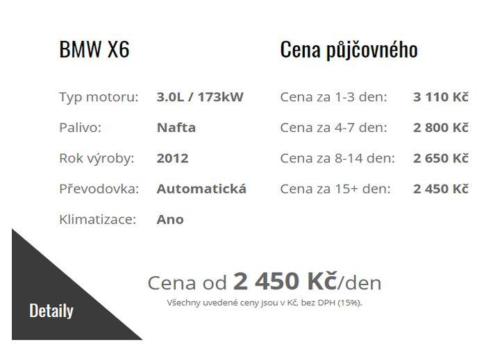 Autopůjčovna Strakonice - ceník zapůjčení osobního automobilu BMW