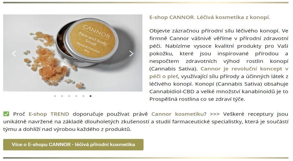 E-shop CANNOR. Léčivá kosmetika z konopí.