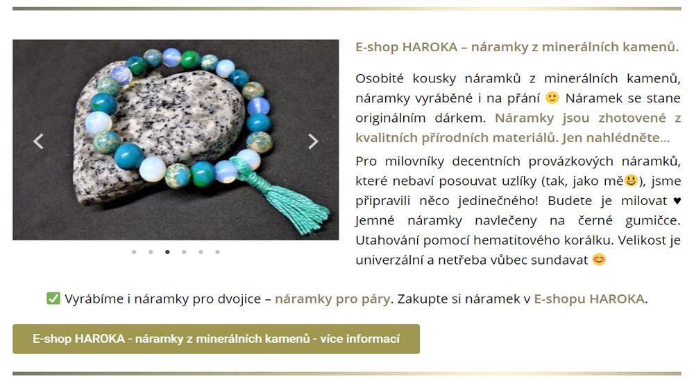 E-shop HAROKA – náramky z minerálních kamenů.